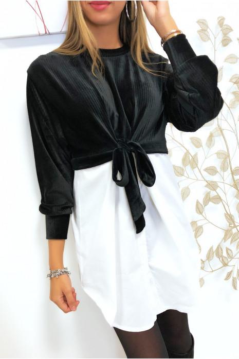 Magnifique pull chemise 2 en 1 en velours noir avec noeud devant