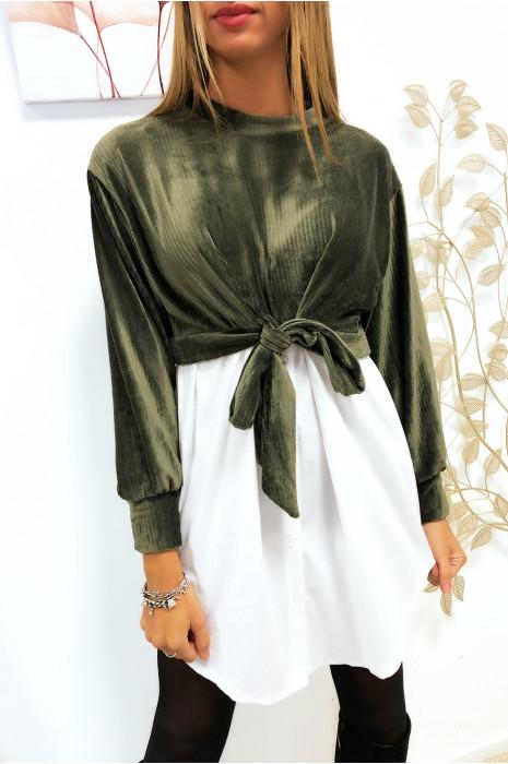 Mooie 2-in-1 kaki fluwelen overhemdtrui met strik aan de voorkant