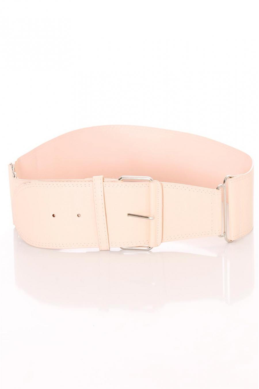 Brede roze riem, rechthoekige gesp en koordjes. SG-0418