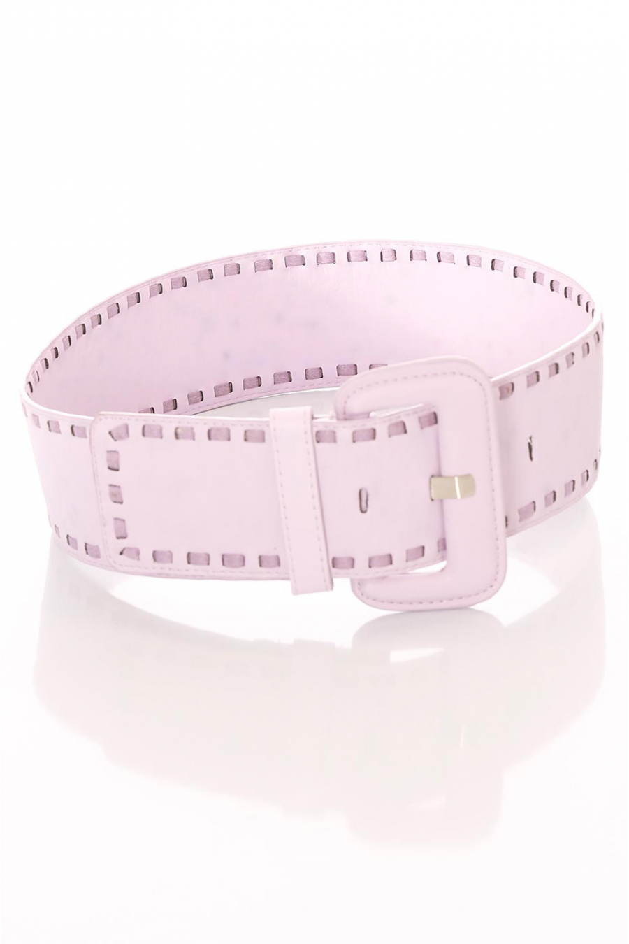Large purple belt, rectangle buckle and sewn contours. SG-0460