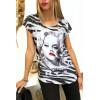 Tee shirt Gris et Noir avec Strass Modèle VINTAGE - MC1601