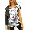 T-shirt wit en grijs met strass VINTAGE model - MC1601