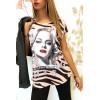 Tee shirt Rose et Noir avec Strass Modèle VINTAGE - MC1601