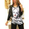 Tee shirt Noir et Blanc avec Strass Modèle VINTAGE - MC1601