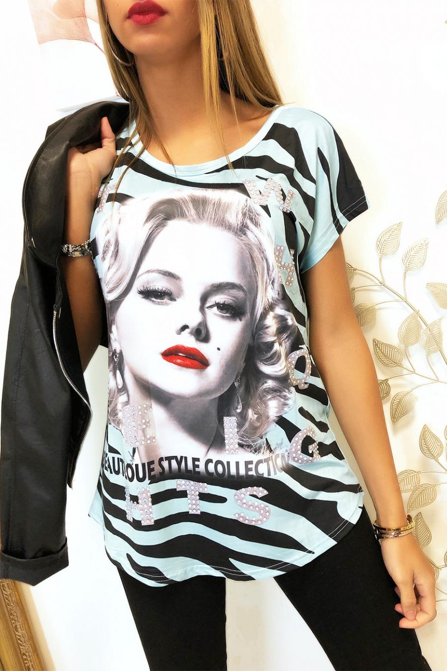 Turkoois en zwart T-shirt met Strass VINTAGE-model - MC1601