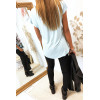 Tee shirt Turquoise et Noir avec Strass Modèle VINTAGE - MC1601