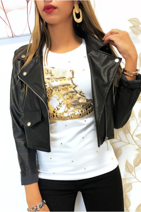 Tee shirt Blanc imprimé basket à ornement strass dorés. F2053