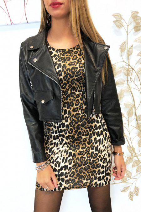 Beautiful leopard print dress with faux leather and shoulder closure. F2189