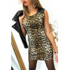 Magnifique robe motif léopard avec simili et fermeture aux épaules. F2189