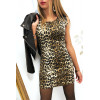 Mooie luipaard print jurk met faux leer en schouder sluiting. F2189