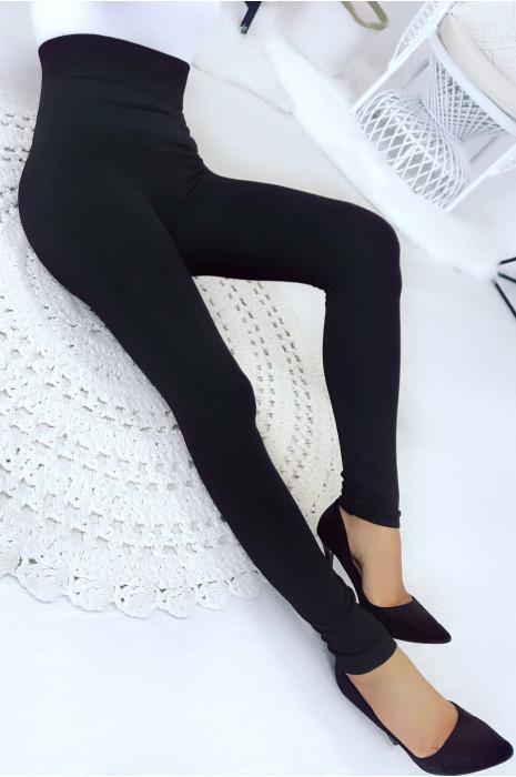 Leggings Noir amincissant molletonné Taille haute ventre plat et jambes affinées. 15-501