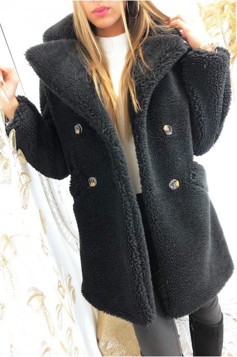 Magnifique manteau noir teddy beat coat croisé à l'avant