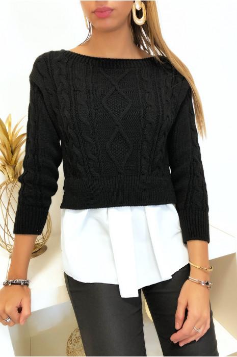 Joli pull chemise noir 2 en 1 avec tresse très tendance