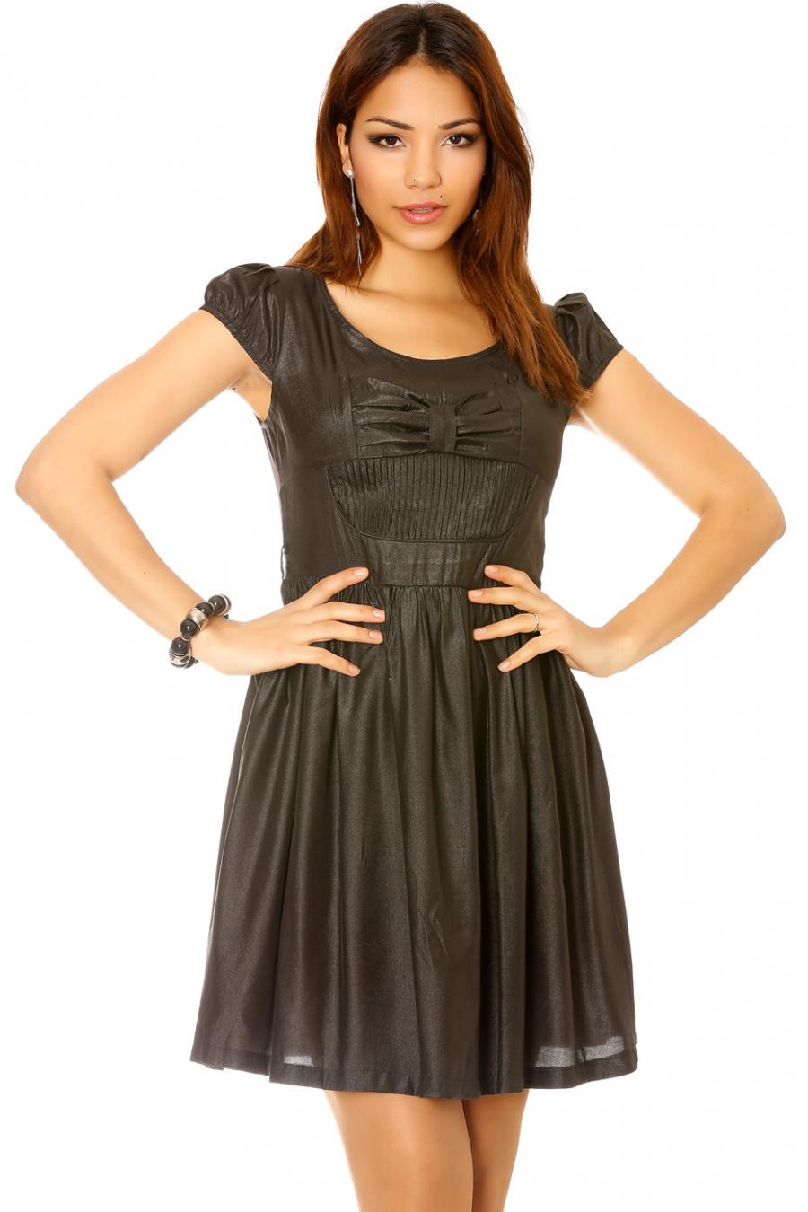 Robe brillante en noir avec noeud papillon devant. Mode femme pas cher W-1015