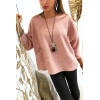 Joli pull rose ample matière peluché avec poche et collier