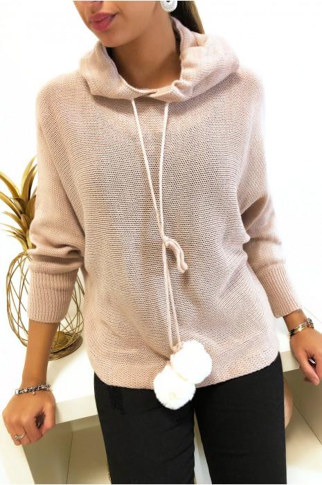 Joli pull à capuche rose avec lacet pompon