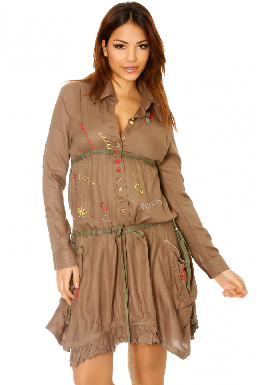 Buttoned taupe tunic dress with embroidery. Low price women's clothing 921
