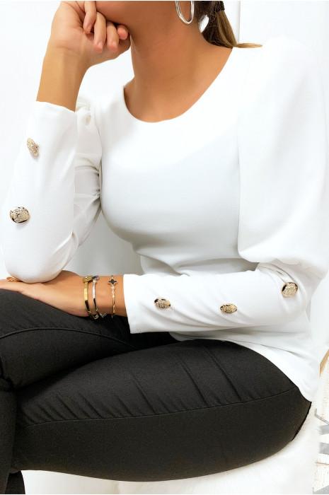 Jolie petit top blanc épaule bouffante matière brillante avec boutons aux manches