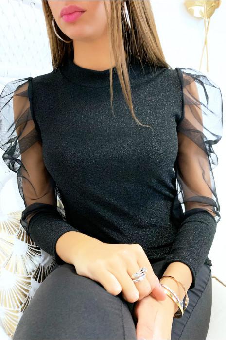 Mooie kleine zwarte top met glanzende stof, sluiermouwen en pofschouder
