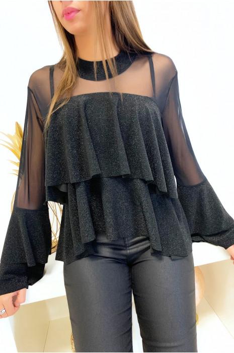 Magnifique blouse à volant noir pailleté transparent au buste