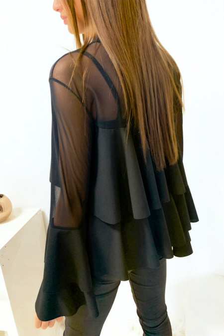 Beautiful blouse with transparent black ruffle on the bust