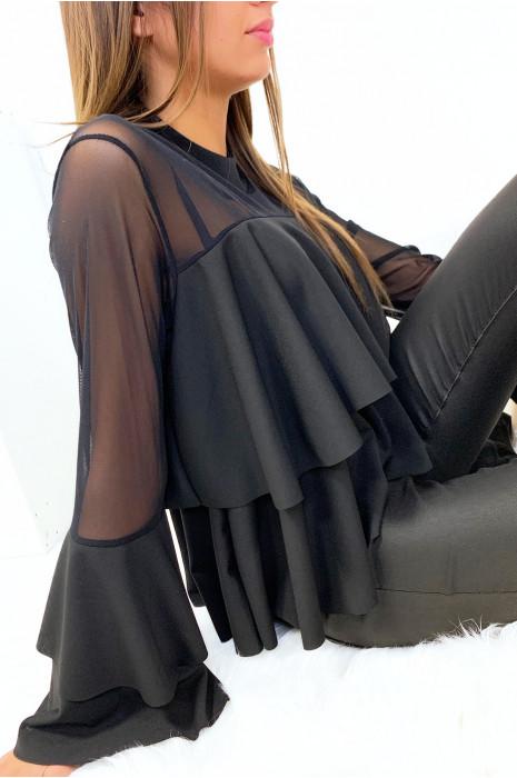 Magnifique blouse à volant noir transparent au buste