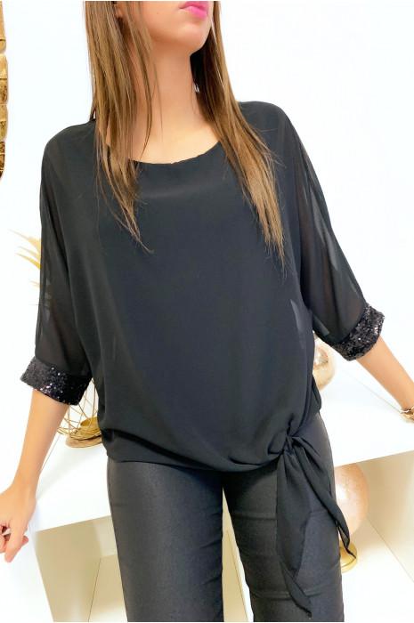 Jolie blouse noir en voile doublé avec noeud devant et strass aux manches