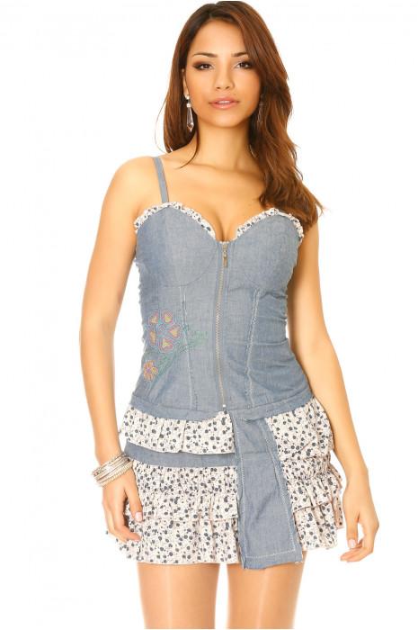 Beige denim jurk met Liberty print volant. Trendy damesmode Z020