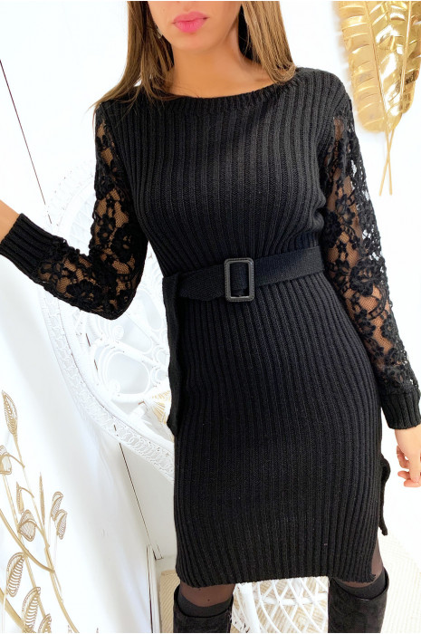 Magnifique robe pull noir manche en dentelle avec ceinture
