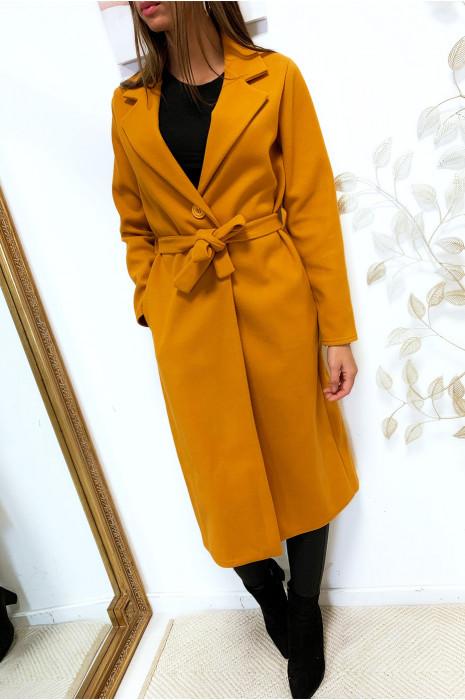 Longue veste moutarde avec ceinture bouton et poches
