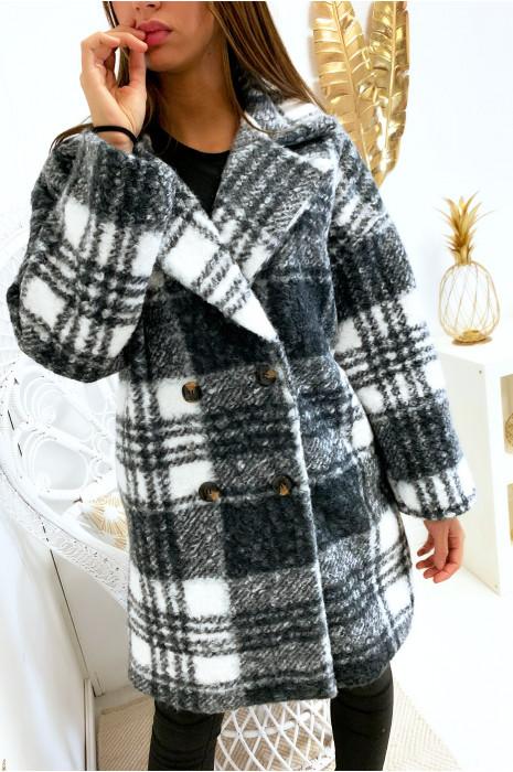 jolie veste masculine à carreaux gris et blanc croisé avec poches