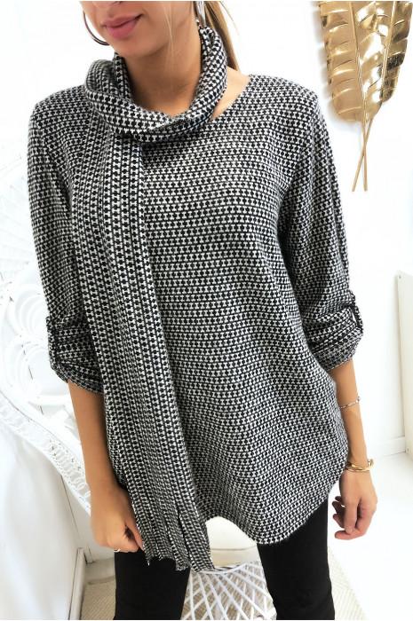 Tunique à motif gris et noir en manches 3/4 avec écharpe