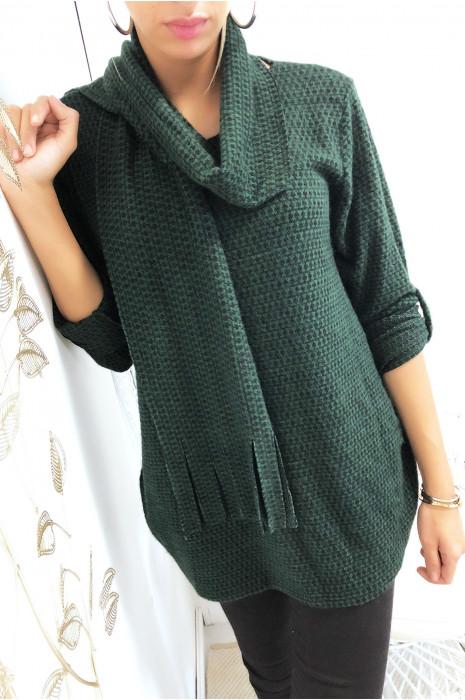 Tunique à motif vert et noir en manches 3/4 avec écharpe
