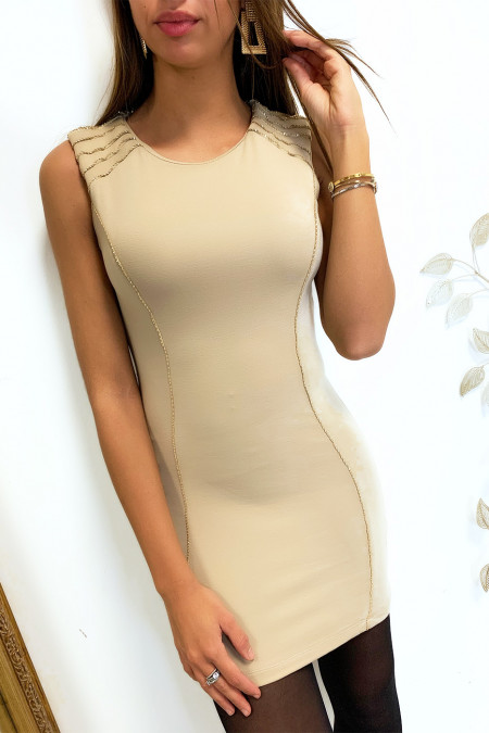Pretty short dress in beige with gold thread on the shoulders and on the sides