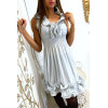 Shiny gray dress with elastic at the frilly waist at the collar and bottom. 516