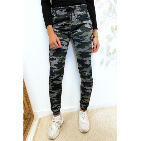 Pantalon jogging militaire noir avec poches. Enleg 9-169.