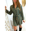 Robe tunique verte avec jolie motif et touche doré