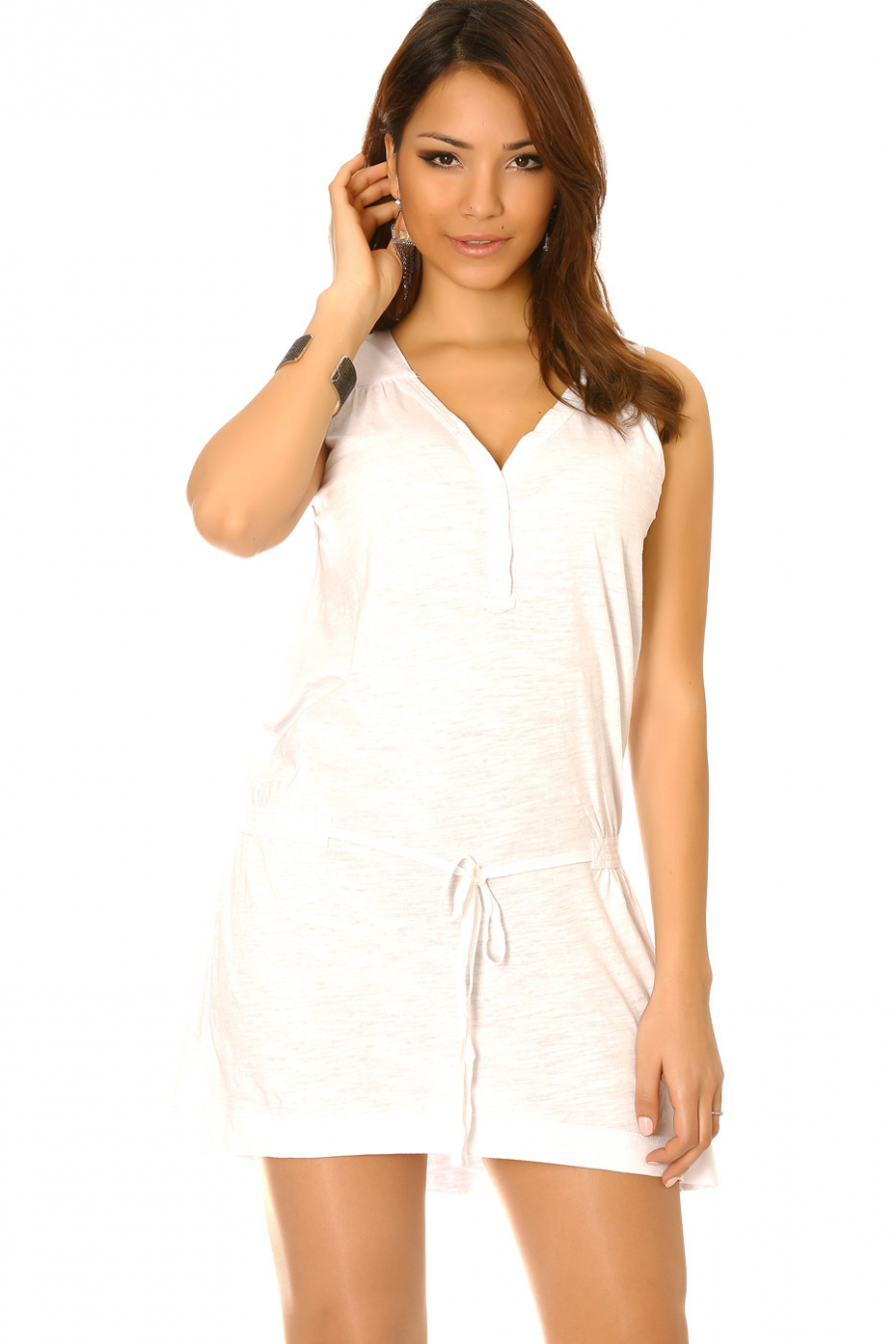 White V-neck tennis dress with buttons at the collar and lace belt. Tennis dress 926