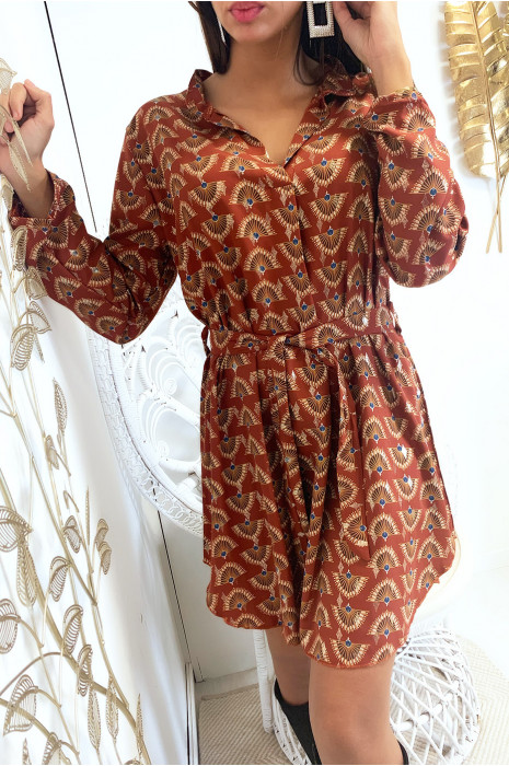 Robe tunique cognac avec jolie motif et touche doré