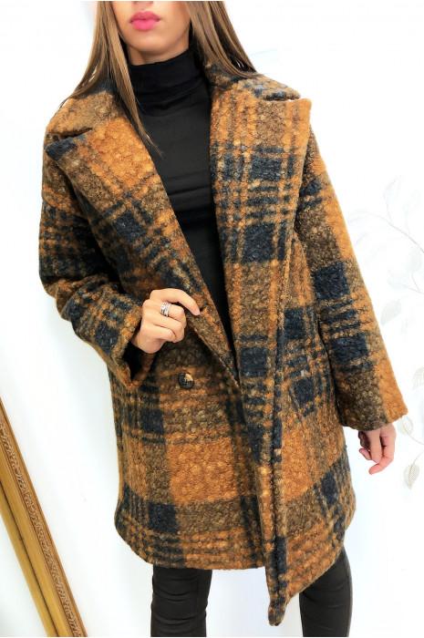 jolie veste masculine à carreaux marron croisé avec poches