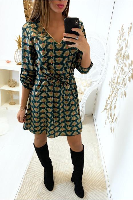 Jolie robe tunique à motif vert avec col V et de jolis touche dorés