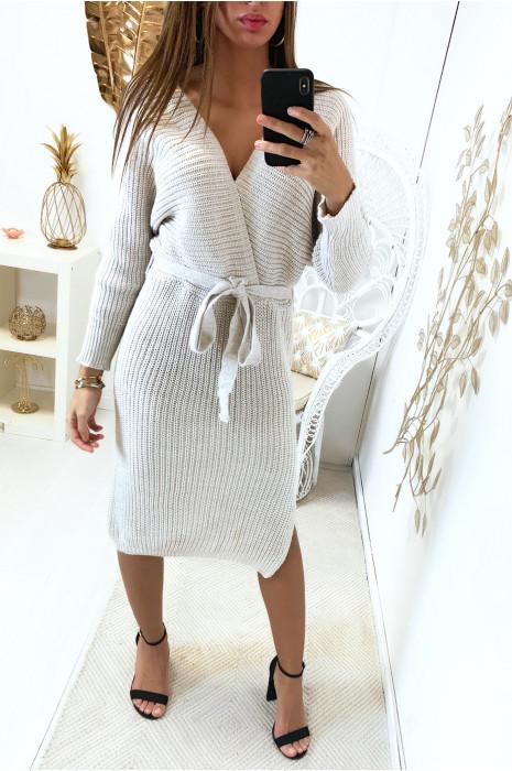 Longue robe pull beige cache coeur style kimono