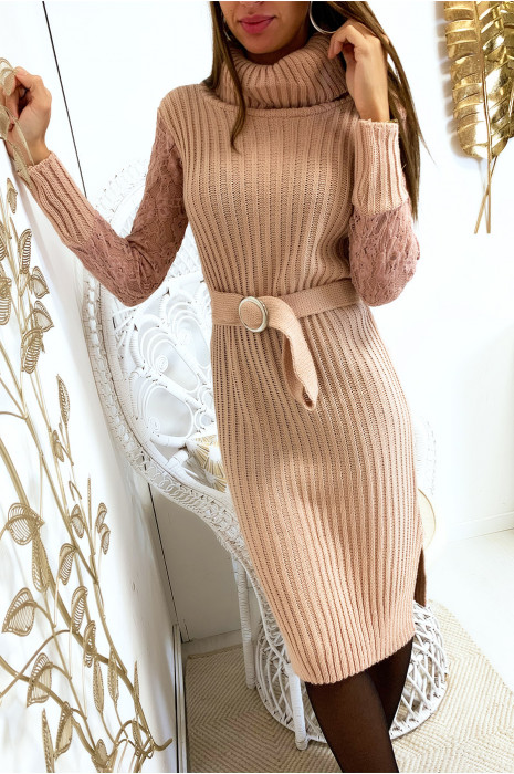 Pink lace sleeve sweater dress with turtleneck and belt