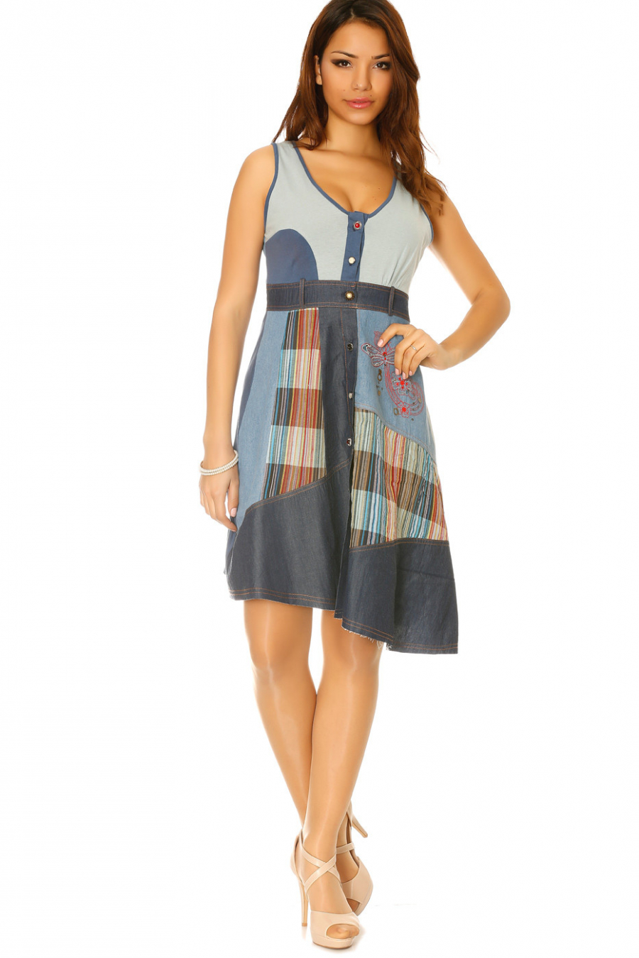 Denim dress with buttons and several pieces of green and colored fabric Z014