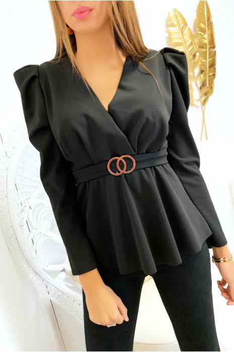 Joli blouse noir croisé avec anneau et épaules bouffante