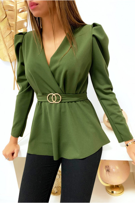 Joli blouse kaki croisé avec anneau et épaules bouffante