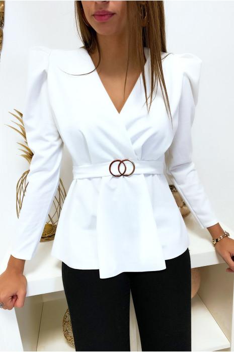 Joli blouse blanche croisé avec anneau et épaules bouffante