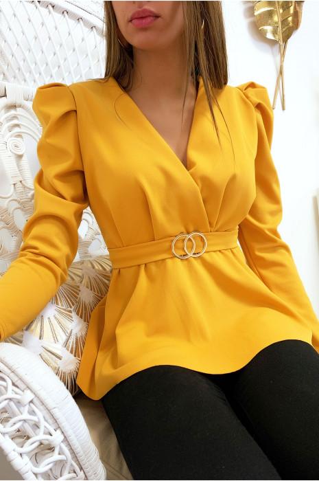 Joli blouse moutarde croisé avec anneau et épaules bouffante