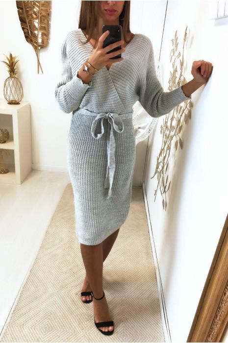 Longue robe pull gris cache coeur style kimono
