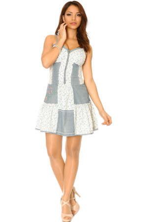 Denim dress with ruffle with piece of flower pattern. Fashion and sexy dress